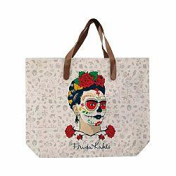 Béžová plátená taška Madre Selva Frida Skull, 55×40 cm