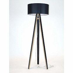 Čierna stojacia lampa s čiernym tienidloma transparentným káblom Ragaba Wanda