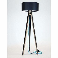 Čierna stojacia lampa s čiernym tienidloma tyrkysovým káblom Ragaba Wanda