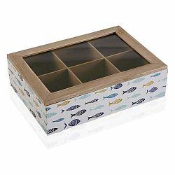 Drevená škatuľa na čaj s viečkom Versa Blue Bay