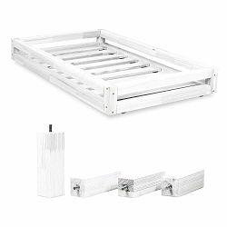 Sada bielej zásuvky pod posteľ a 4 predĺžených nôh Benlemi, pre posteľ 80×180 cm