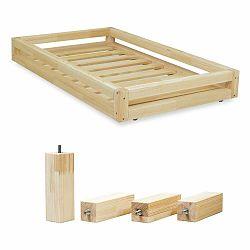 Sada prírodnej zásuvky pod posteľ a 4 predĺžených nôh Benlemi, pre posteľ 90×180 cm