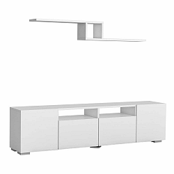 Set bieleho TV stolíka a nástennej police Bellini