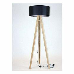 Stojacia lampa s čiernym tienidloma čierno-bielym káblom Ragaba Wanda