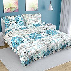 Bellatex Bavlnené obliečky Ornament tyrkysová, 240 x 220 cm, 2 ks 70 x 90 cm